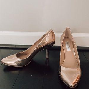 Gold metallic heels
